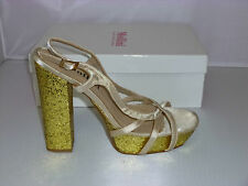 Mollini Heels Style Yelp in Champagne Satin/Gold Glitter size 38 NEW- W1-093