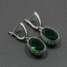 925 Sterling Silver & Green Emerald Drop Dangle Earrings Edwardian Style