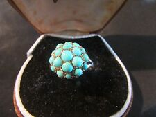 Beautiful Antique 9ct Gold & Natural Turquoise Boule Ring