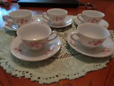 antique 5 demi teacups and 6 saucers made in japan