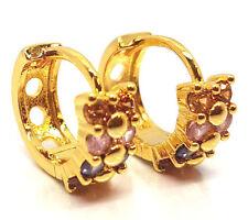 Womens Mens Teens Crystal CZ 18ct Gold Plated Huggie Hoop Ear Stud Earrings