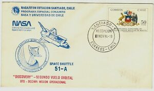 Chile 1984 Cover NASA Space Shuttle Discovery Segundo Vuelo Orbital 51-A
