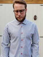 Jack & Jones UK L Shirt Grey/Black & White Striped Men's Smart Casual Premium