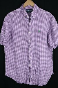 Ralph Lauren Mens sz Large Purple Check 100% Linen Classic Fit Shirt Green Pony