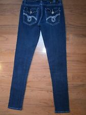 Womens Juniors Red Rivet Skinny Low Rise Stretch Jeans Size 3 Dark Wash