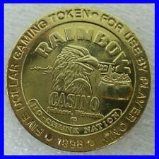 1998 Rainbow Casino $5.00 Brass Gaming Token  Nekoosa, WI   Has Eagle On It