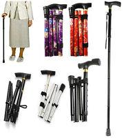 Walking Stick Foldable Adjustable Cane Lightweight Senior Walk Travel Aluminium