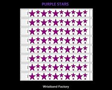 100 x Tyvek Purple Stars Party Function Event Disco Rave Security Wristbands