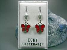 Neu 925 Silber OHRHÄNGER mit SCHMETTERLINGE in rot/silber OHRRINGE Schmetterling