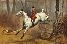 Huge Oil painting male portrait horseman riding white horse & Hound canvas 36""