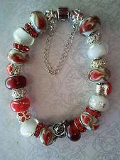 Anesiidora Silver European bracelet Red Heart Alice Cupcake butterfly teapot
