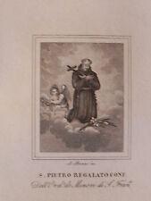 Santo Pietro Regalato Pedro regalado Valladolid acquaforte 1840 Spagna Spain
