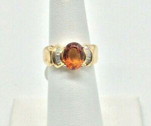 Estate Genuine Citrine and Diamonds 14k Solid Yellow Gold Ladies Ring