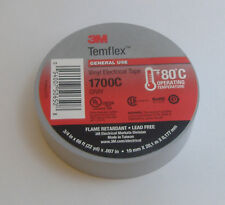 "PREMIUM GRADE 3M TEMFLEX GRAY SILVER VINYL ELECTRICAL TAPE 3/4"" X 66'"