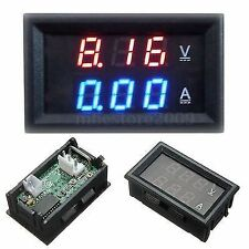 DC DIGITAL VOLTMETER AMMETER DC 0-100V 10A DUAL LED RED BLUE MONITOR PANEL