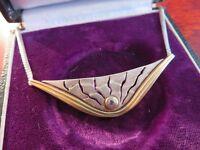 Hübsches 925 Silber Collier FS Franz Scheurle Teil Vergoldet Zirkonia Designer