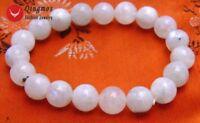 10mm White Round Natural High Quality Moonstone Bracelet for Women 7.5'' bra264