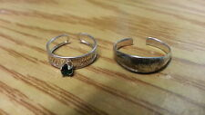 Beautiful Two Green Filigree Solid Toe Rings Ring 925 Sterling *Size Ad*F243