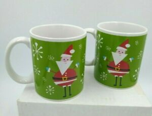 Mid-Century Modern Design Santa Mugs Atomic Green D Handle Set of 2