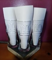 McDonald's (3) GLASSES 1992 GOLDEN ARCHES LOGO ADVERTISING PROMO CLEAR 6-1/2""