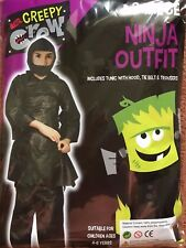 HALLOWEEN SCARY NINJA 3 PIECE FANCY DRESS FULL COSTUME OUTFIT, Age 4-6 Years NEW