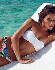 Costume Da Bagno Bikini Stampa Fiori Fascia Zip Vita Bassa Swimwear Swimsuit S