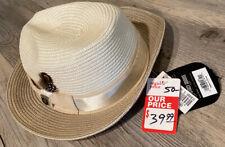 Stacy Adams Men's Fedora Straw Hat Ivory Sz L NWT Retail $50