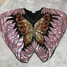 Vintage Swee Lo Sequin Silk Beaded Shiny Butterfly Womens Fancy Top