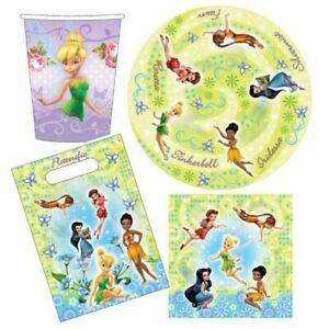DISNEY FAIRIES 40 Piece Party Pack Plates Cups Loot Bags Napkins Birthday Kids