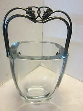 "Mid Century Stromberg GLASS Sweden Ice bucket Sterling Silver GRAPES HANDLE 10""T"