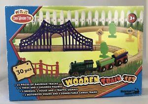 Omni Wooden Toys 964016 Motorized Engine Train Set - 30 Piece