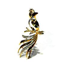 Bijou plaqué or 18 carats broche oiseau bicolore brooch
