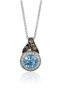 LeVian 14K White Gold Aquamarine Round Chocolate Brown Diamond Pendant Necklace