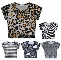 Girls Crop Top Short Sleeve T-shirt Kids New Tee Age 5 6 7 8 9 10 11 12 13 Years