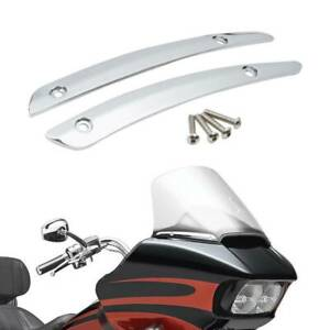 Pair Chrome Windshield Side Trim For Harley Touring Road Glide Special FLTRXS