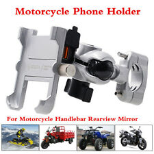 Silver Motorcycle Handlebar Rearview Mirror Phone Holder Stand USB Fast Charger