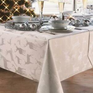 Stag Christmas Silver Tablecloth