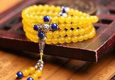 Handmade Tibet silver Yellow Chalcedony & Lapis Lazuli String of 108 Beads