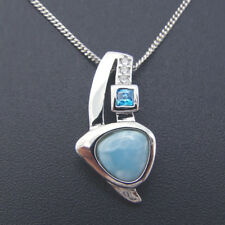 100% Sterling S925 Natural Larimar Gemstone CZ Carva Nacklace Pendant