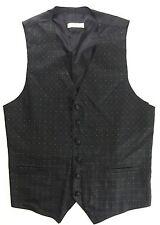 LA VALIERE Paris Black On Black Textured Floral Pattern Gents Vest