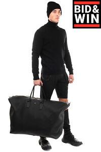 RRP€3125 DOLCE & GABBANA Leather Oversized Travel Bag Black Grainy Panel Zipped