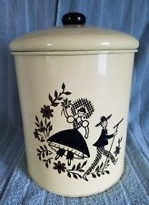 "Vintage Yellow Metal Canister,With ""Gardening Couple""Design;10&#03 4;T X 7 1/4""D"
