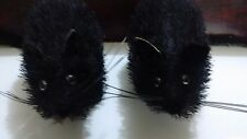 2 Black Foam Halloween Fringed Hair Rats, Props / Decoration