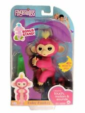 WowWee Fingerlings Bella Baby Monkey Interactive Toy - Pink with BONUS STAND