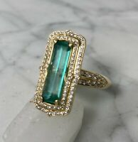 Kat Florence Unoiled Muzo Mine Columbian Emerald & Flawless Diamond 18K Ring