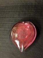 "Art Glass Heart Paperweight- Pink Large 5"" x 4"""