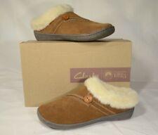 Clarks Women Warm Cozy Slip on Clog Slippers Rebecca Brown 633 Size 6M