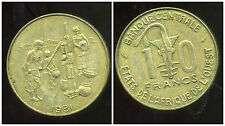 ETATS DE L'AFRIQUE DE L'OUEST  10  francs 1981  ( 1 )