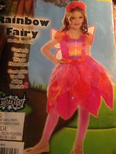 Girls Large 10/12 Rainbow Fairy Costume Wings Headband Dress Pink Defect