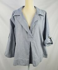 Elisabeth Hasselback for Dialogue Women's Striped Blue Roll up Sleeve Top sz 1X